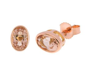 9ct Rose Gold 0.90ct Oval Morganite Solitaire Rub Over Stud Earrings