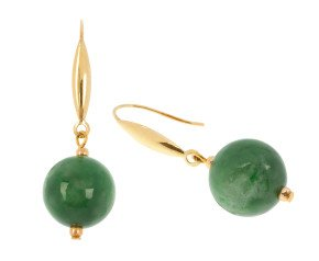 9ct Gold Jade Drop Earrings
