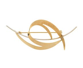 Vintage 9ct Yellow & White Gold Abstract Brooch