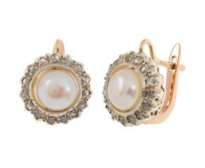 Handcrafted Italian Cultured Pearl & 0.40ct Diamond Cluster Earrings