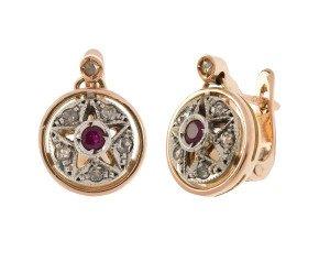 Handcrafted Italian Ruby & Diamond Cluster Drop Earrings