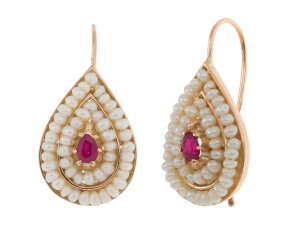 Handcrafted Italian Ruby & Seed Pearl Earrings