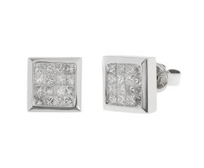 Pre-Owned Diamond Panel Stud Earrings