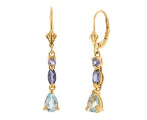 1.21ct Aquamarine & Tanzanite Drop Earrings