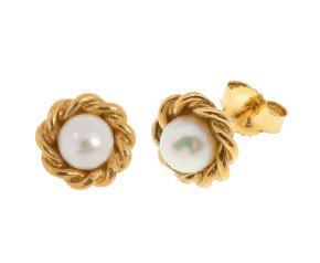 9ct Yellow Gold Pearl Stud Earrings