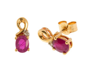 Pre-owned Ruby & Diamond Stud Earrings