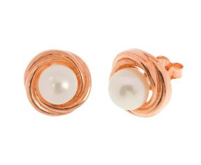 Sterling Silver & Rose Gold Plated 6mm Button Pearl Swirl Embrace Stud Earrings