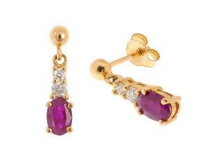9ct Gold 0.90ct Ruby & Diamond Drop Earrings