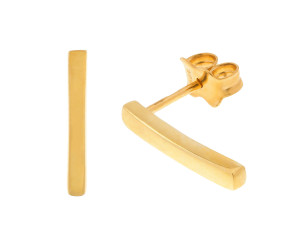 9ct Gold Plain Bar Stud Earrings