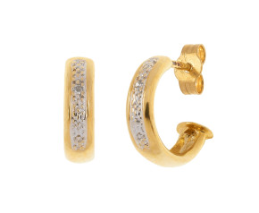 Pre-Owned 9ct Gold & Diamond Hoop Earrings