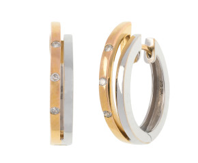 9ct Yellow & White Gold Diamond Hinged Hoop Earrings