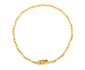 Pre-owned White & Yellow Gold Bamboo Style Bracelet
