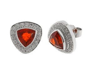 18ct White Gold Fire Opal & Diamond Triangular Cluster Stud Earrings