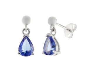 9ct White Gold 1.50ct Tanzanite Drop Earrings