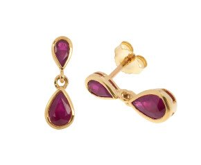 9ct Gold 1.38ct Ruby Double Drop Earrings