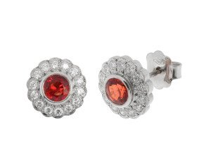 18ct White Gold 1.27ct Orange Sapphire & Diamond Cluster Earrings