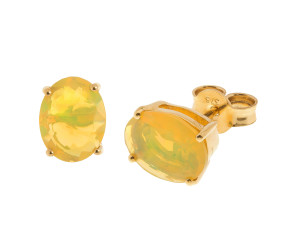 9ct Gold 2.04ct Oval Yellow Opal Solitaire Stud Earrings