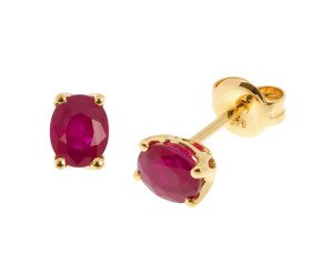 9ct Yellow Gold 0.60ct Oval Ruby Solitaire Stud Earrings