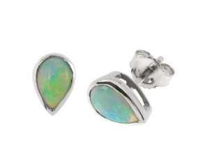 9ct White Gold 1.20ct Opal Solitaire Stud Earrings