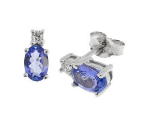 9ct White Gold 0.80ct Tanzanite & Diamond Earrings