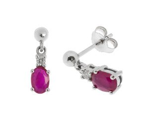 9ct White Gold 1.00ct Ruby & Diamond Drop Earrings