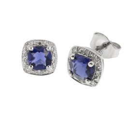 9ct White Gold Iolite & Diamond Cluster Earrings