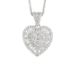 18ct White Gold 1.40ct Diamond Heart Pendant