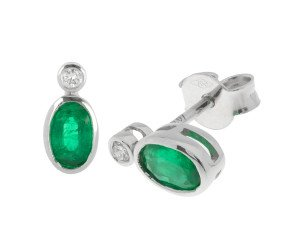 18ct White Gold 0.76ct Emerald & Diamond Earrings