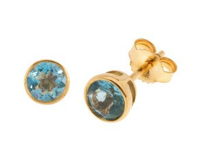 9ct Yellow Gold 1.20ct Round Aquamarine Solitare Stud Earrings