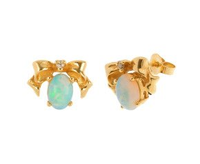 14ct Yellow Gold 1ct Opal & Diamond Bow Earrings