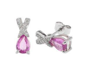 18ct White Gold Spodumene & Diamond Stud Earrings