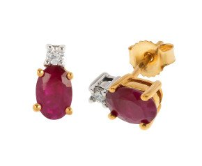 9ct Yellow Gold 1.00ct Ruby & Diamond Stud Earrings