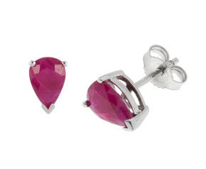 9ct White Gold 1.70ct Pear Ruby Solitaire Stud Earrings