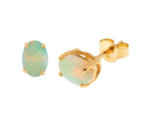 9ct Yellow Gold 7mm Opal Solitaire Oval Shape Stud Earrings
