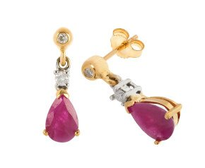 9ct Yellow Gold 1.60ct Ruby & Diamond Drop Earrings