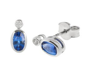 18ct White Gold 1.07ct Sapphire & Diamond Earrings