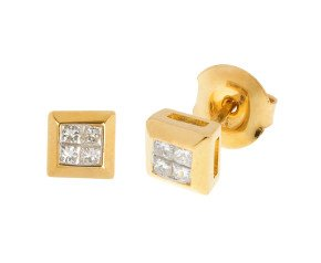9ct Yellow Gold 0.25ct Diamond Cluster Earrings