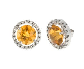 18ct White Gold Citrine & Diamond Halo Stud Earrings