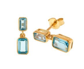 9ct Yellow Gold 2.11ct Topaz Drop Earrings