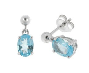 9ct White Gold 0.80ct Oval Aquamarine Drop Earrings