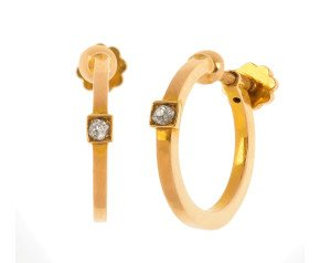 Pre-owned Diamond Hoop Clip On Earrings
