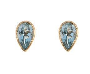 9ct Yellow Gold 0.40ct Pear Aquamarine Solitaire Stud Earrings
