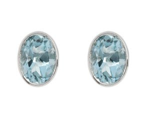 9ct White Gold 1.50ct Oval Aquamarine Solitaire Stud Earrings