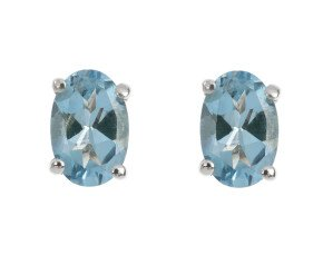 9ct White Gold 0.75ct Oval Aquamarine Solitaire Stud Earrings