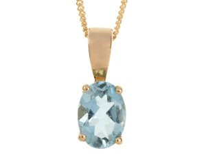 9ct Yellow Gold 0.85ct Oval Aquamarine Solitaire Pendant
