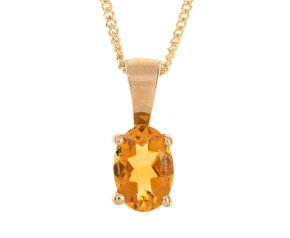 9ct Yellow Gold 0.40ct Citrine Solitaire Pendant