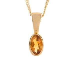 9ct Yellow Gold Citrine Rub Over Solitaire Pendant