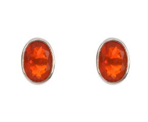 9ct White Gold 0.80ct Oval Fire Opal Solitaire Stud Earrings