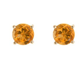 9ct Yellow Gold 0.90ct Round Citrine Solitaire Stud Earrings