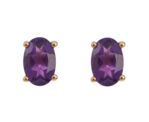 9ct Yellow Gold 0.80ct Amethyst Solitaire Stud Earrings